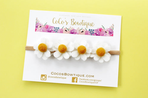 Baby Daisy Floral Crown- 4 Felt Daisies on Nylon Headband