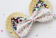 Snack Ears- Waffle Cone/Ice Cream Sprinkled Pinch Bow-Mickey Mouse-Inspired Headband- Satin-lined Metal headband