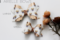 Peek-A-Blooms-pink/olive- Arielle-Style Bow- Faux Leather/glitter hair bow