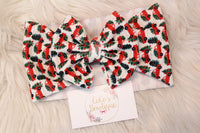 Little Christmas Trucks- Stretchy Liverpool/Bullet Bow Wrap- Choose Size