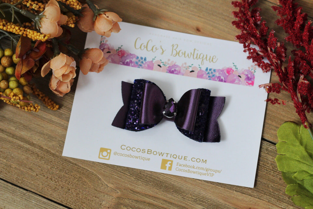 Sugilite- Fall Jewel Bows- Metallic Faux leather/Glitter w/ matching jewel- Fall hair bows-2 sizes