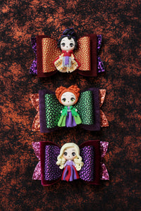 The Sanderson Sisters- Hocus Pocus- Inspired Clay Center Bows- Choose One-SOLD INDIVIDUALLY