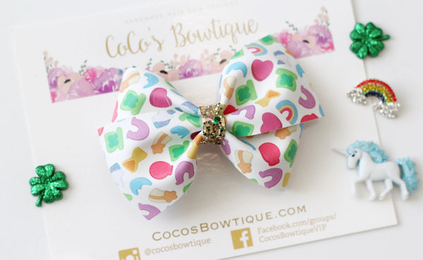 Lucky Charms- Faux Leather Bella Bow- 2 sizes