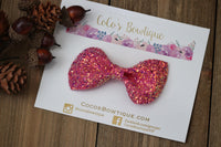 Cosmopolitan- Chunky Glitter Bow- Fall Hair Bows-Various Sizes