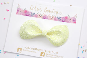 Lemon Sherbet- Diamond Chunky Glitter hair bow- Various Sizes