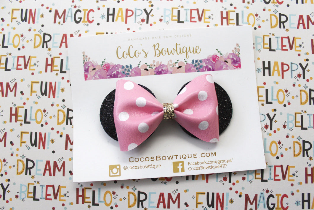 Minnie Mouse Ears Bow- Light Pink & White Polka Dot Chunky glitter/faux leather bow- Disney-Inspired