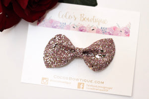 Peony Glitter- Chunky Glitter Bow- Mauve- Various Sizes