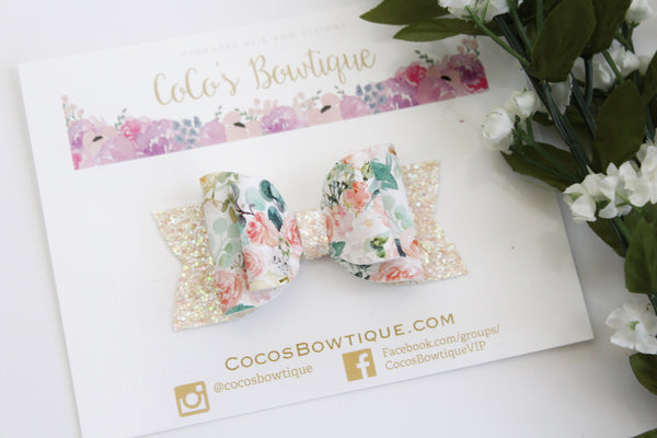 Blushing Blooms- Faux leather/glitter Double Bow- 3 sizes double bow