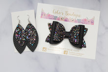 Black- Mermaid & Glitter Collection- Faux Leather Glitter Double Bow- 3 sizes