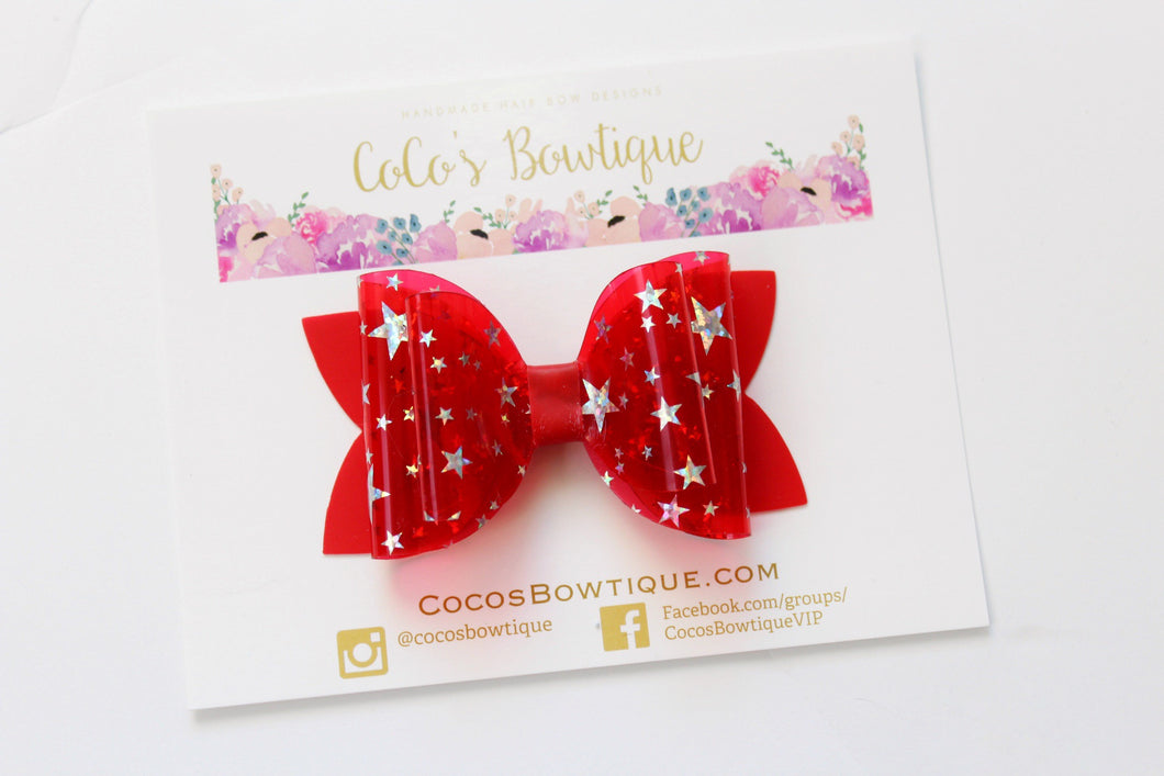 True Red- Star Dust Jelly/Pool bows- Double Bow Sizes