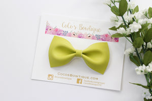 Chartreuse Faux Leather Bow Tie