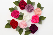 Fuchsia- Wool Felt Rose Flower- Available on all attachments