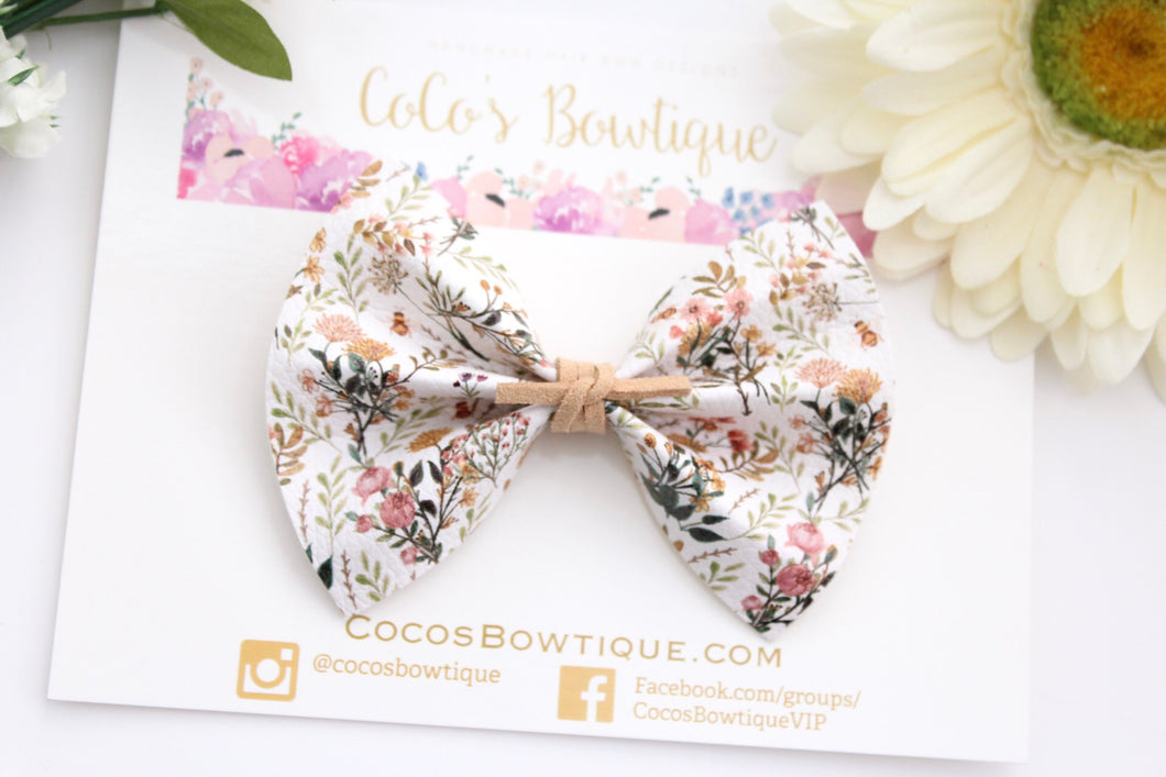 Bee a Wildflower - Floral Printed Faux Leather Bow with Suede Knot Center