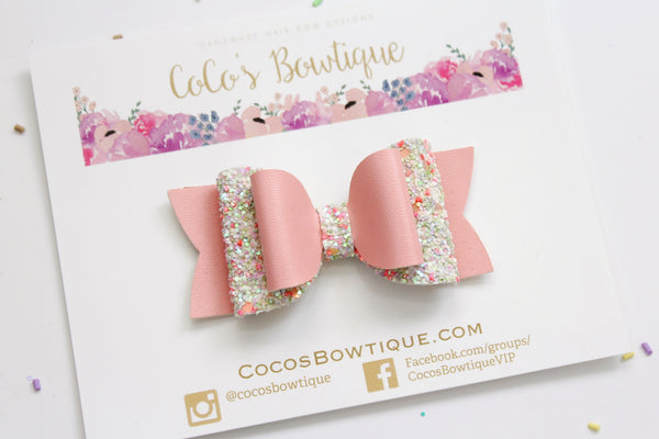 Coral Peony- Faux leather/Glitter Double Bow- 3 sizes