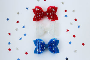 Bright White- Star Dust Jelly/Pool bows- Double Bow Sizes