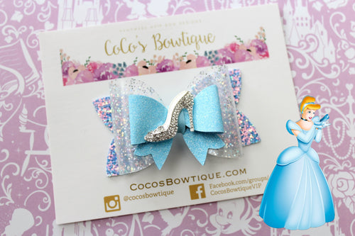 Cinderella- Princess-Inspired Faux Leather/Glitter Hair Bow w/ Embellishment- Disney Bows
