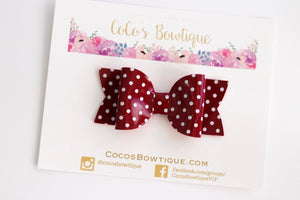 Deep Red- Polka Dot Patent Leather bow- - Various Sizes