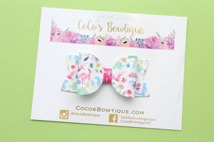 Dino-mite- Dinosaur Faux Leather/Glitter hair bow- Various Sizes