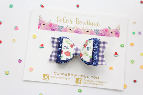 Mixed Berry- faux leather/glitter Double Bow- Ready to Ship