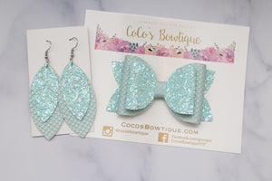 Aqua- Mermaid & Glitter Collection- Faux Leather Glitter Double Bow- 3 sizes