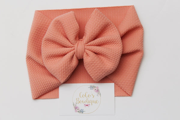 Coral- Stretchy Liverpool/Bullet Bow Wrap- Choose Size