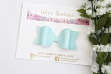 Aqua- Patent Leather hair bow- Various Sizes