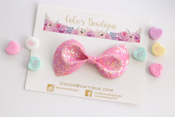 Sweet Pea Shimmer- iridescent Chunky Glitter Bow- - Various Sizes