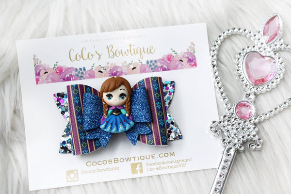 Princess Anna- Disney Princess-Inspired Clay Center Bow- one size