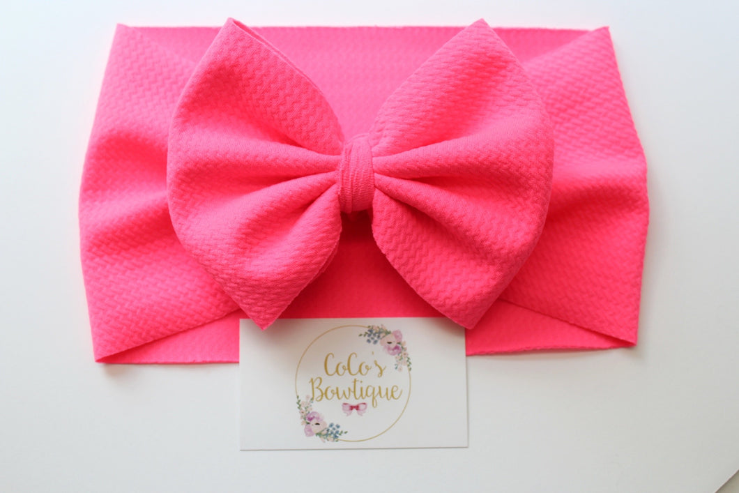 Neon Pink- Stretchy Liverpool/Bullet Bow Wrap- Choose Size