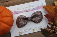 Crushed Autumn Leaves matte Glitter Bow- Fall Bows- Various Sizes