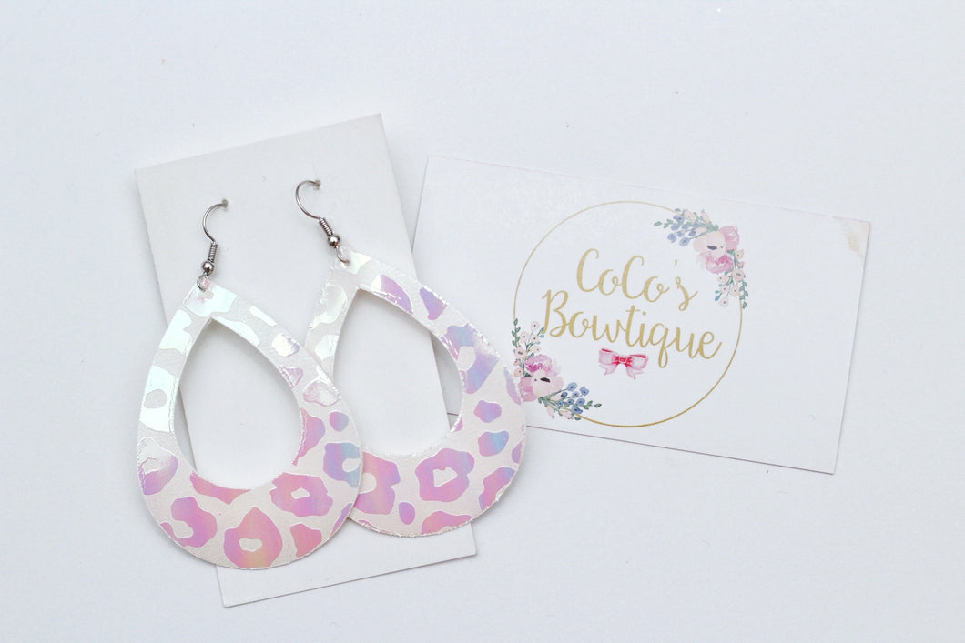 Cloud 9- Iridescent/Holo Leopard Print Faux Leather Hoop Earrings