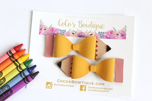 Pencil Bows- Faux Suede Pencil-Shaped Hair Bows- Available as Single Bow or Pigtail Set