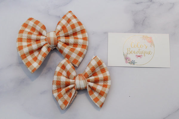 Thanksgiving Gingham Plaid- Stretchy Liverpool/Bullet Bows- Choose Size