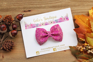 Girl boss- Chunky Iridescent Crystal Glitter Bow- Fall Bows- Various Sizes