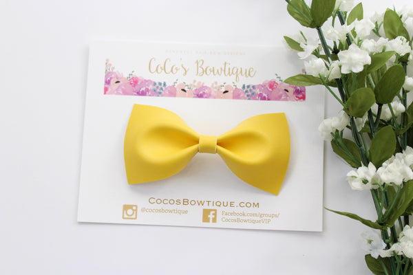 Yellow Faux Leather Bow Tie