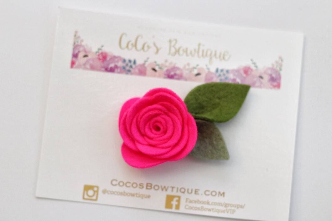 Hot Pink- Wool Felt Rose Flower- Available on all attachments