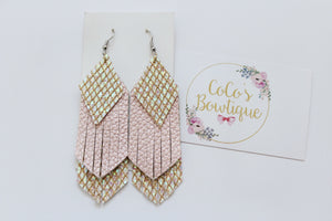 Opalescence- Iridescent/Faux Leather Summer Layered Fringe- Handmade Earrings- Nickel Free