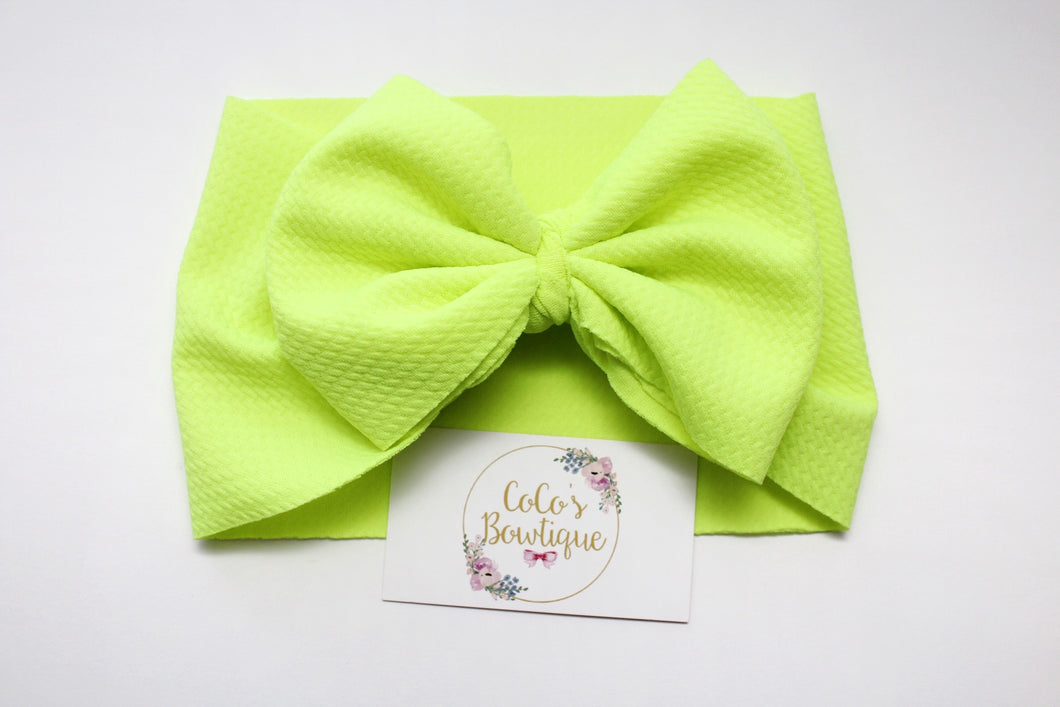 Neon Yellow- Stretchy Liverpool/Bullet Bow Wrap- Choose Size