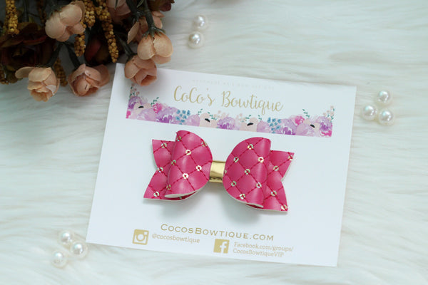 Fuschia Quilted Luxe Hair Bow- Various Sizes