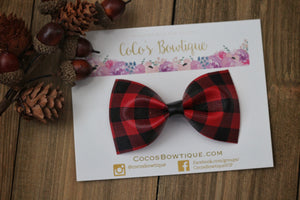 Red Buffalo Plaid - Faux Leather Bow Tie