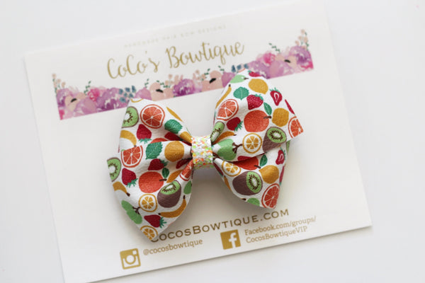 Mixed Fruit- Faux leather Bella Bow- 2 sizes