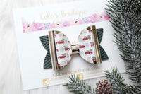 Home for the Holidays- Christmas Truck Printed Faux leather/glitter double bow- 3 sizes