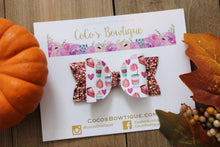 Pumpkin Spice & Everything Nice- Faux Leather/Glitter Hair Bow- Various Sizes