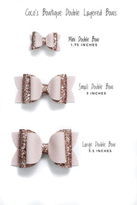 Shell Treasures- Summer Hair Bows- Faux Leather Glitter Double Bow- 3 sizes
