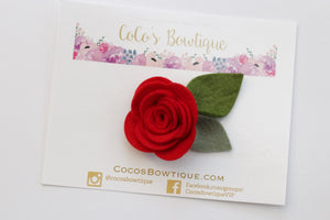 Red- Wool Felt Rose Flower- Available on all attachments