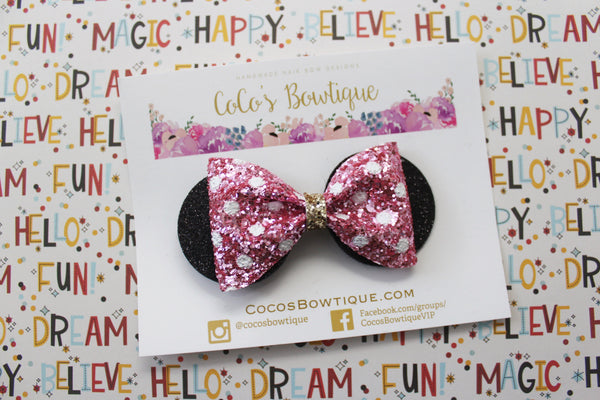 Minnie Mouse Ears Bow- Pink & White Polka Dot glitter bow- Disney-Inspired