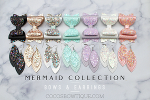 Opal - Mermaid & Glitter Collection- Faux Leather Glitter Double Bow- 3 sizes