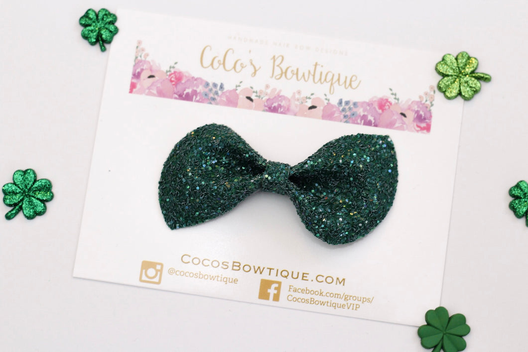 Emerald City Shimmer - Green Iridescent Glitter Hair Bow- Various Sizes