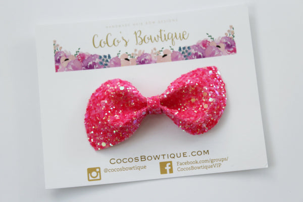 Electric Melon-  Neon Glitter hair bow- Various Sizes