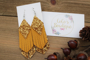 Maize - Fall Matte Glitter/Faux Leather Layered Fringe- Handmade Earrings- Nickel Free